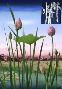 Tokyo Story 1: Lotus Garden (after Hiroshige) 2011