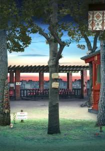 Tokyo Story 6: Shrine (after Hiroshige) 2011