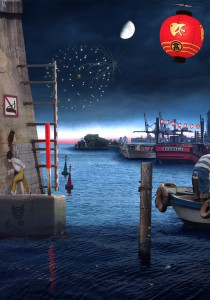 Tokyo Story 3: Night Harbour (after Hiroshige) 2011